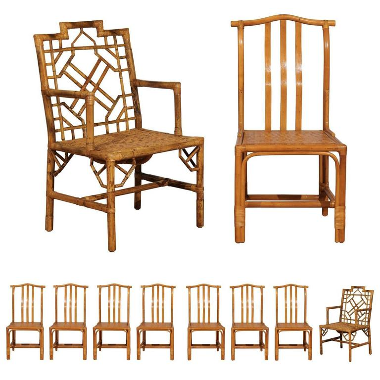 Strange Elegant Set Of Ten Restored Vintage Rattan Dining Chairs Ocoug Best Dining Table And Chair Ideas Images Ocougorg