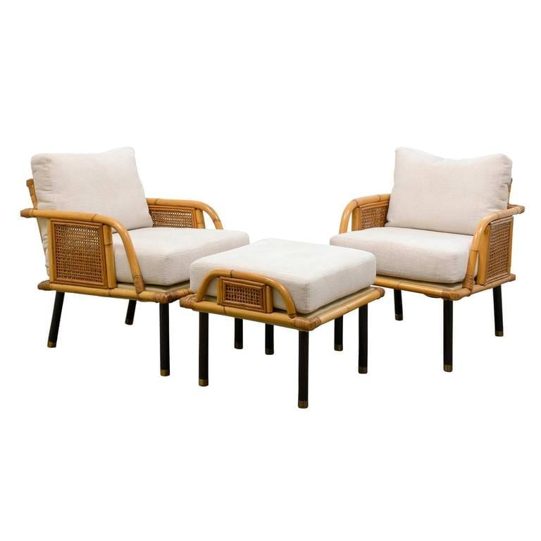 Unique Pair Of Modern Rattan And Cane Lounge Chairs By Ficks Reed