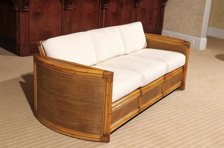 Exceptional Restored Vintage Rattan Sofa