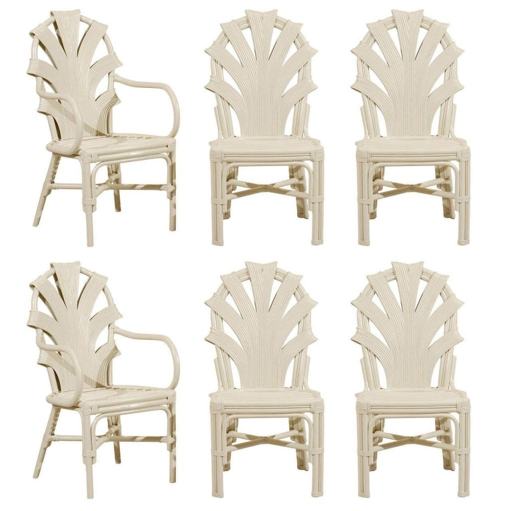 Enjoyable Exceptional Set Of Six Vintage Rattan Dining Chairs In Cream Lacquer Ocoug Best Dining Table And Chair Ideas Images Ocougorg