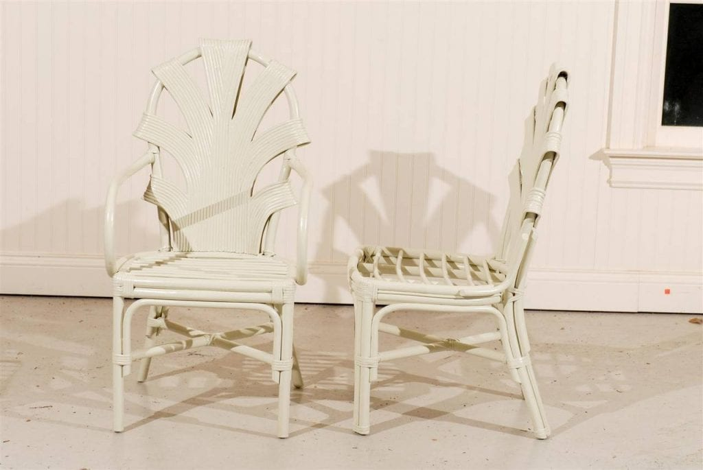 Exceptional Set Of Six Vintage Rattan Dining Chairs In