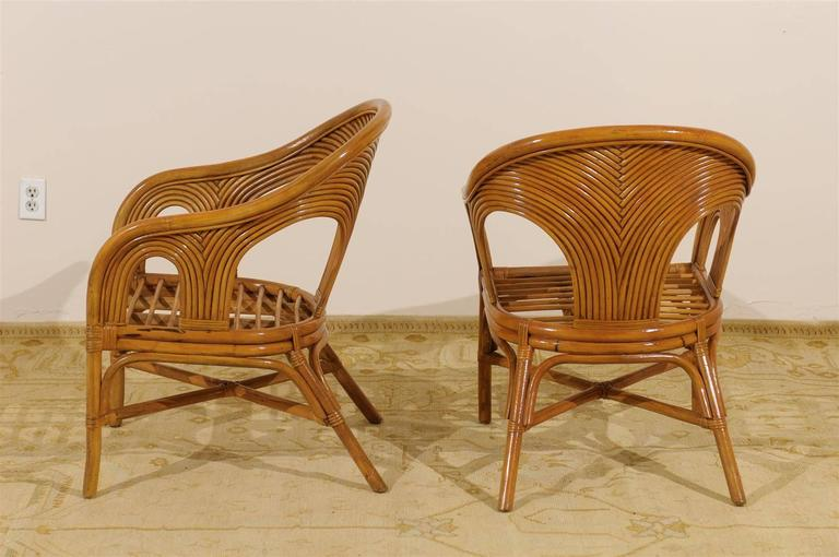 Sculptural Set Of Six Vintage Bamboo Dining Chairs