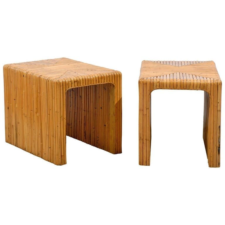 Charmant Gorgeous Pair Of Split Bamboo End Tables