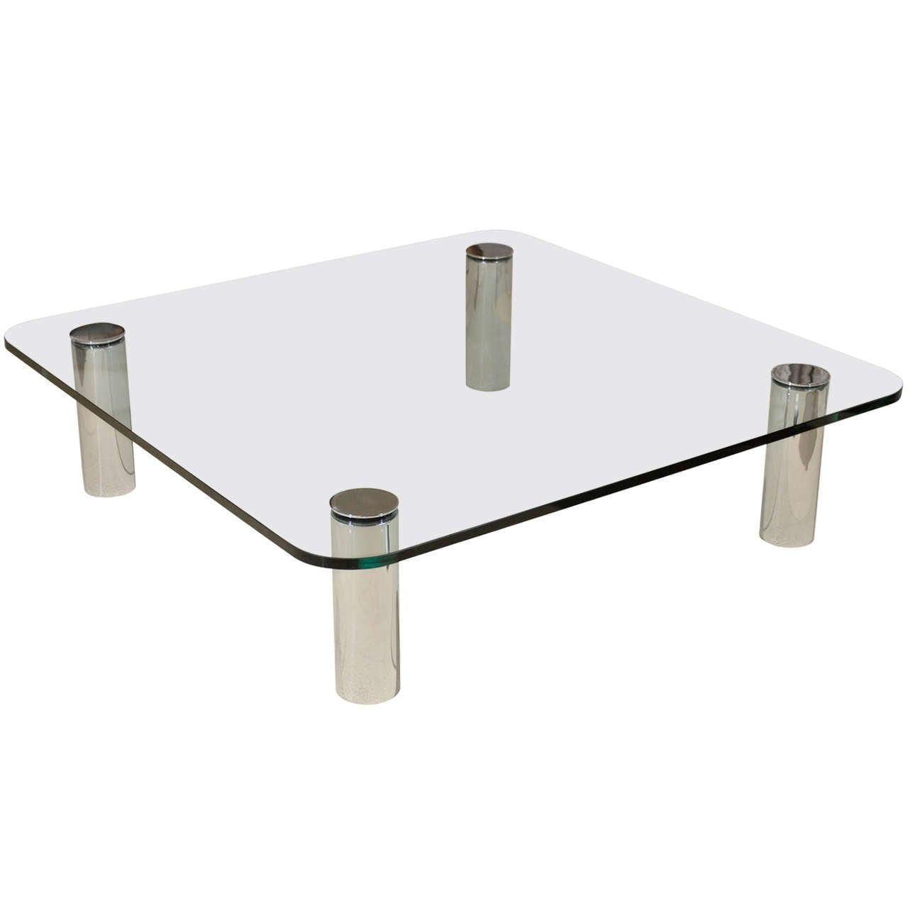 Glass And Chrome Coffee Table By Pace