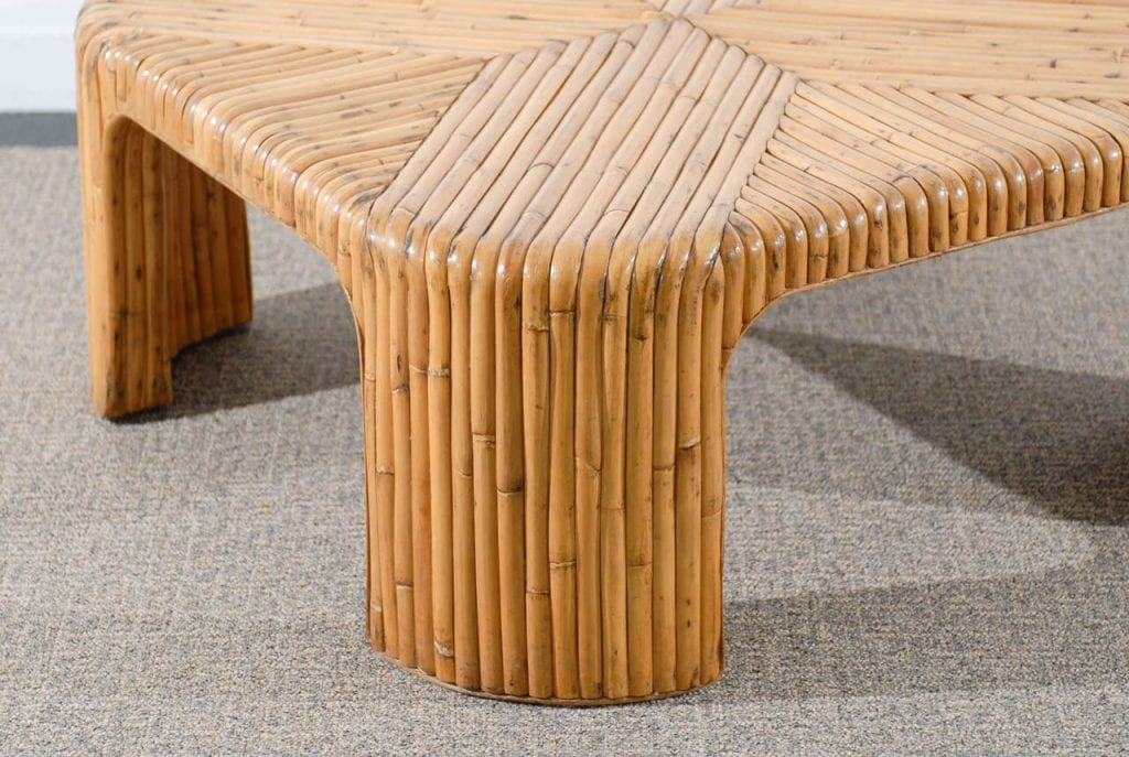 Lovely Vintage Bamboo Coffee Table With Waterfall Corners Tomrobinsonmodern