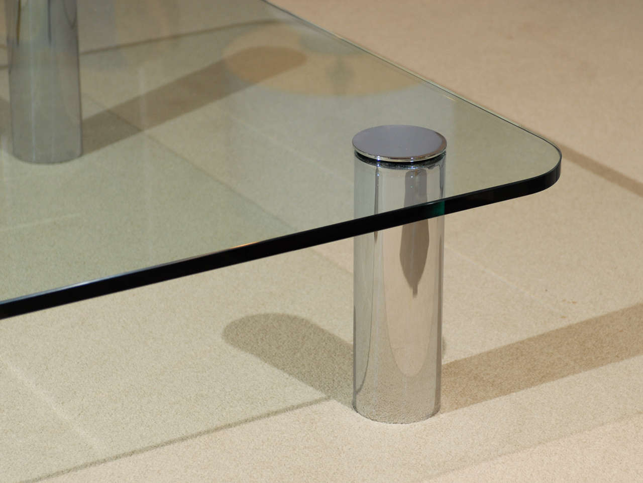 Glass and chrome coffee table by pace tomrobinsonmodern glass and chrome coffee table by pace geotapseo Images