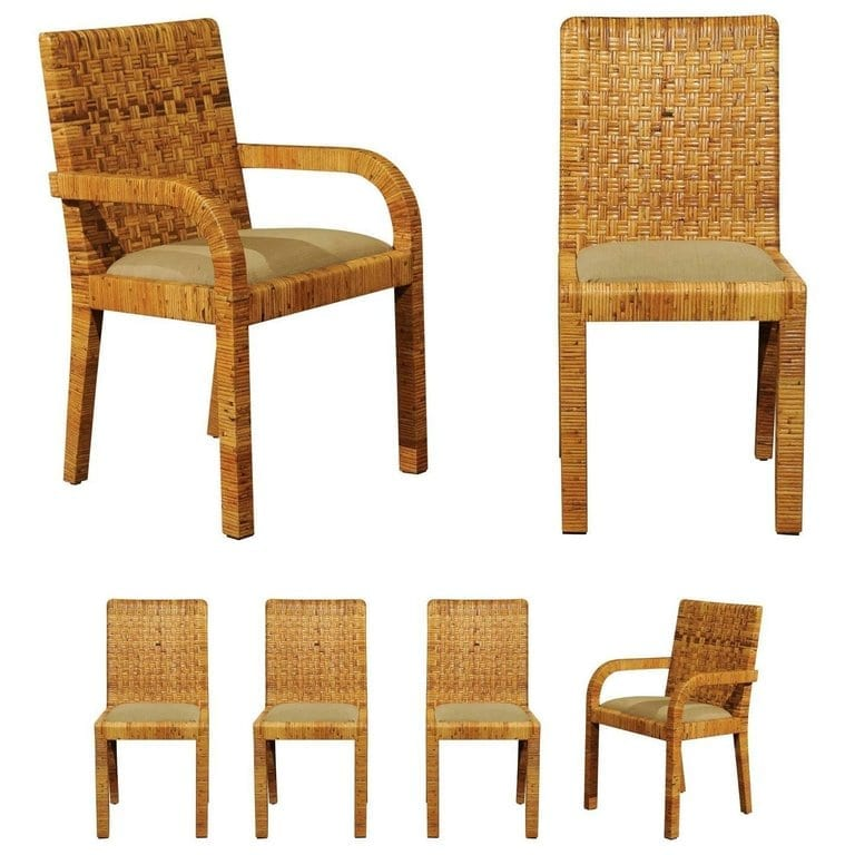 Magnificent Stellar Set Of Six Rattan Wrapped Dining Chairs In The Style Of Billy Baldwin Ocoug Best Dining Table And Chair Ideas Images Ocougorg