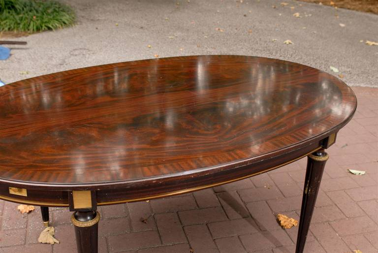 Unusual Flame Mahogany Dining Table Attributed To Maison